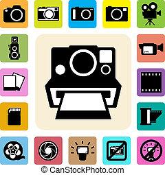 câmera, jogo, vídeo, ícones
