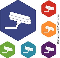 câmera, jogo, vigilância, ícones