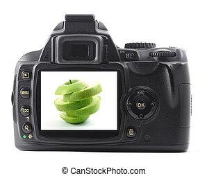 câmera, maçã, fruta, digital