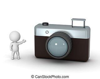 câmera, personagem, mostrando, 3d, foto
