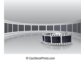 câmera, rolo, película