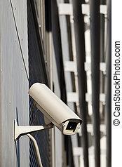 câmera segurança, anexado, ligado, predios