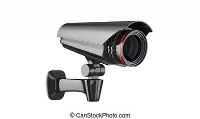câmera segurança, branco, experiência., 3d, render