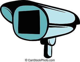 câmera segurança, caricatura, ícone