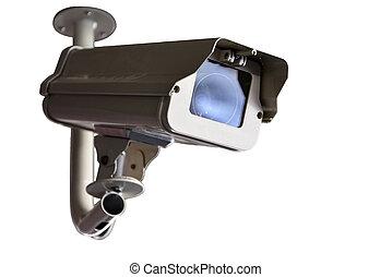 câmera segurança, ou, cctv, isole, branco, fundo