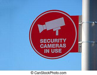 câmera segurança, sinal aviso
