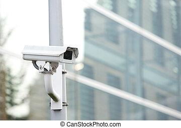 câmera segurança, sistema, guardar, negócio, predios