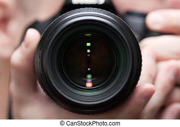 câmera, segurando, homens