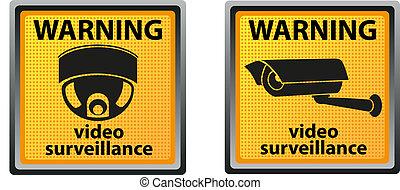 câmera, sinal aviso, vigilância
