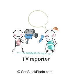 câmera televisão, fala, repórter