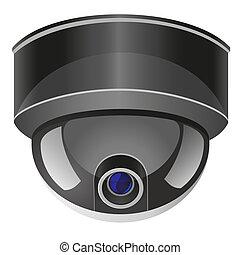 câmera, vídeo, ilustração, vigilância