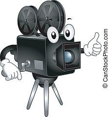 câmera, vídeo, mascote