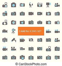 câmera, vetorial, jogo, ícones