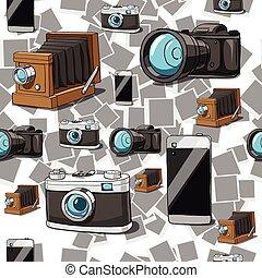 câmera, vetorial, seamless, fundo