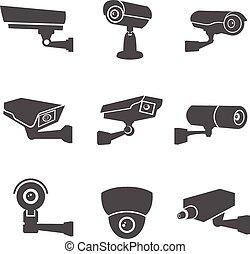 câmera, vigilância, ícones