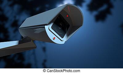 câmera vigilância, em, a, night-time