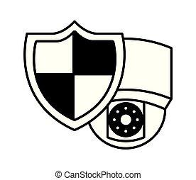 câmera vigilância, sistema, proteção, escudo