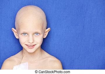 câncer, criança, retrato