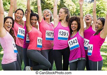 câncer, femininas, alegrando, peito, corredores maratona