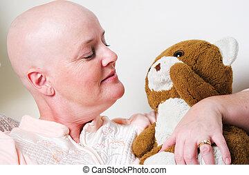 câncer, paciente, confortado, por, urso teddy