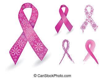 câncer peito, fita, em, cor-de-rosa