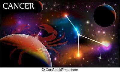 câncer, sinal astrological, e, espaço cópia
