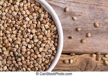 cânhamo, sementes, tigela