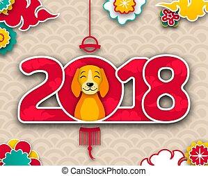 cão, bandeira, chinês, oriental, cartaz, 2018, ano, novo,...