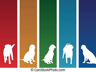 cão, bandeiras