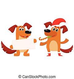 cão, caráteres, natal, saudação, dois
