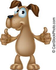 cão, caricatura, dar, polegares cima
