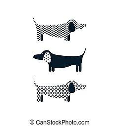 cão, caricatura, tshirt, desenho, vector., bassê
