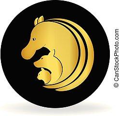 cão, cavalo, e, gato, dourado, logotipo