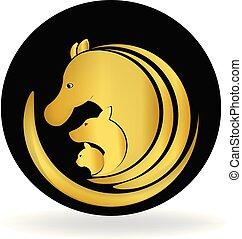 cão, cavalo, e, gato, ouro, logotipo