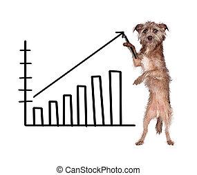 cão, desenho, vendas crescentes, mapa