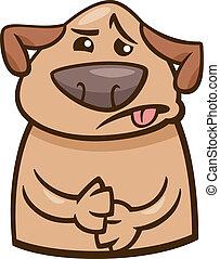 cão, doente, caricatura, ilustração, disposição