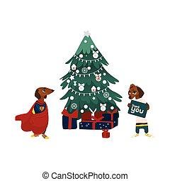 cão, dois, presentes, árvore, caráteres, natal