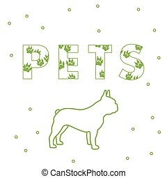 cão, e, e, a, inscrição, animais estimação, com, traces.
