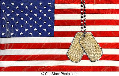 cão, etiquetas, ligado, bandeira americana