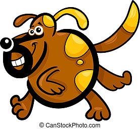 cão, executando, filhote cachorro, ou, caricatura