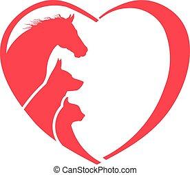 cão, gato, amante animal, logotipo, cavalo