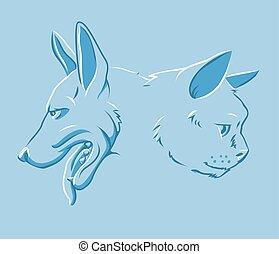 cão, ilustração, gato