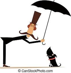 cão, ilustração, longo, homem, bigode, guarda-chuva