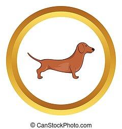 cão, marrom, vetorial, bassê, ícone