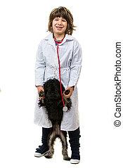 cão, menino, veterinário, filhote cachorro, doutor, pequeno
