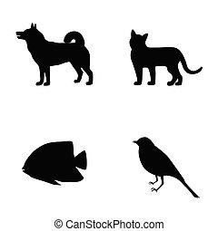 cão, peixe, silueta, ícones, gato, ilustração, vetorial, elementos, jogo, pássaro