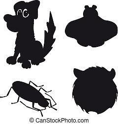cão, silueta, erro, urso