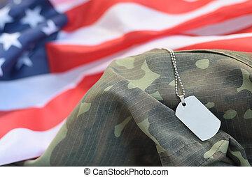 cão, tecido, uniforme, militar, tag, bandeira, camuflagem, prateado, estados, unidas, contas