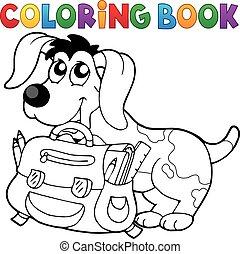 cão, tinja livro, schoolbag
