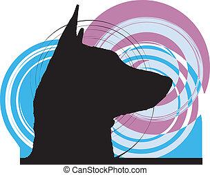 cão, vetorial, ilustração